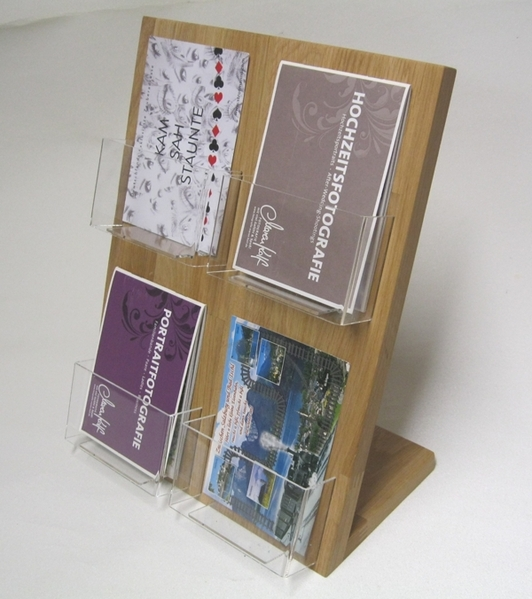 Relativ Postkartenständer 4x DIN-A6 110x150 mm Hochformat Holz Acryl Postkarte CE97