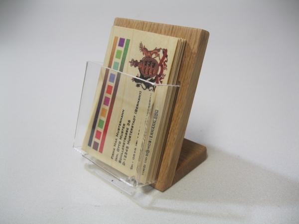 Visitenkartenhalter Eiche Holz Acryl Hochformat Tischmodell