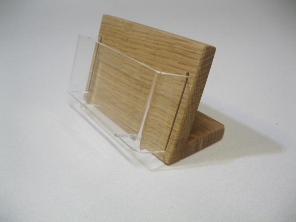 Visitenkartenhalter Eiche Holz Acryl Querformat Tischmodell
