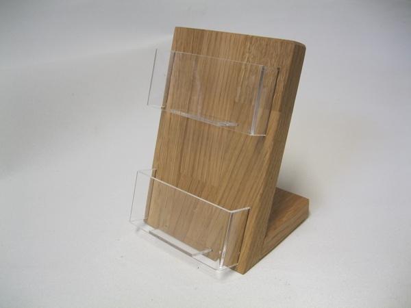 Visitenkartenhalter 2 Fächer Eiche Holz Querformat Tisch