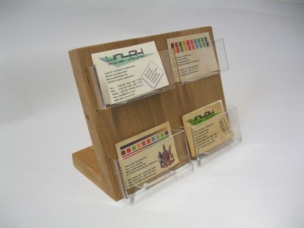 Visitenkartenhalter 4 Fächer Eiche Holz Querformat Tisch